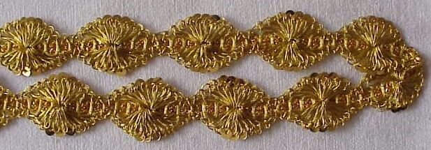 "5 Yards Crocheted Metallic Ribbon Trim Gold 1"" Wide Floral"