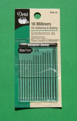 Size 3//9-16 pack Dritz Milliners Hand Sewing Needles