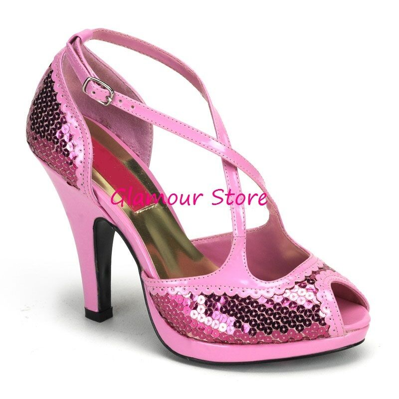 Sexy schuhe PIN UP 36 tacco 10 plateau dal 36 UP al 44 ROSA BABY paillettes GLAMOUR 818c70