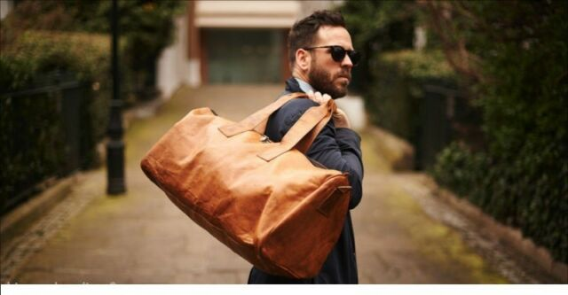 """25/"""" Men Brown Vintage Genuine Travel Luggage Duffle Gym Bags Tote Goat Leather"""
