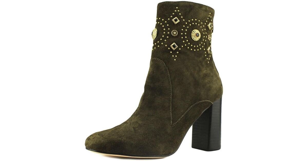 Sigerson Morrison Sheyla Olive Suede Studded Ankle Boots shoes Bootie 8 M  495