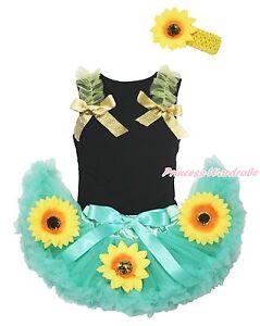 Black Top Summer Sunflower Ruffle Bow Aqua Blue Girl Baby Skirt Outfit Set 3-12M