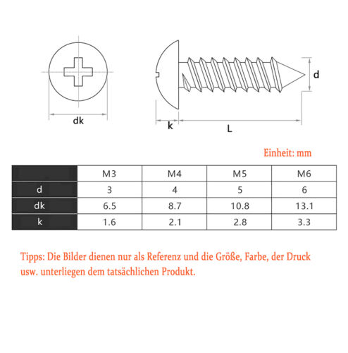 Blechschrauben Flachkopf Edelstahl A4 V4A Kreuz M3 M4 M5 M6 rostfrei Schraube
