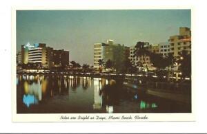 MIAMI-BEACH-FL-Lake-Pancoast-Vtg-Night-View-Algers-PC