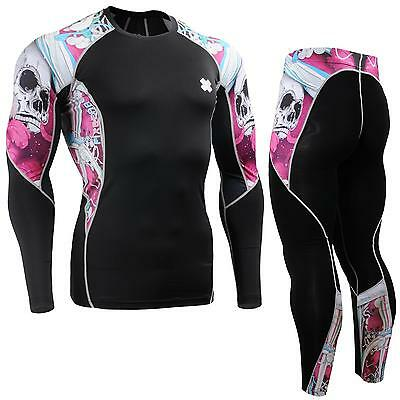 FIXGEAR C2L/P2L-B19P SET Compression Shirts & Pants Skin-tight MMA Training Gym