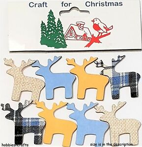 CRAFT-FOR-CHRISTMAS-8-NOVELTY-ADHESIVE-WOODEN-PATTERNED-REINDEER