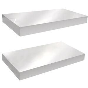 Mensole Bianco Lucido.Dettagli Su Lucido Da Parete 40cm Mensola Fluttuante Confezione Da Due Bianco St40x2wh
