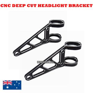 Black-CNC-aluminum-50mm-headlight-bracket-cafe-racer-bobber-streetfighter-custom