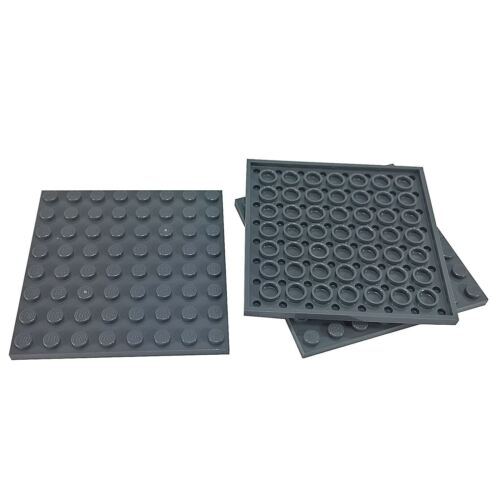 3 NEW LEGO Plate 8 x 8 BRICKS Dark Bluish Gray