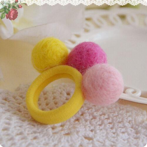 5//10X Elastic Girl Pompom Ball Hairband Rope Hair Band Ponytail Holder Kids PVCA