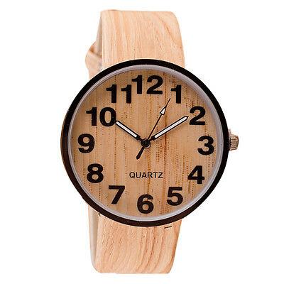 2015 Simple Style Wood Grain Leather Quartz Watch Men Women Dress Wristwatches