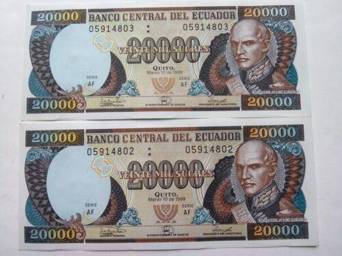 ECUADOR 1999 20000 SUCRES  UNC  LOT of 2 PCS from bundle