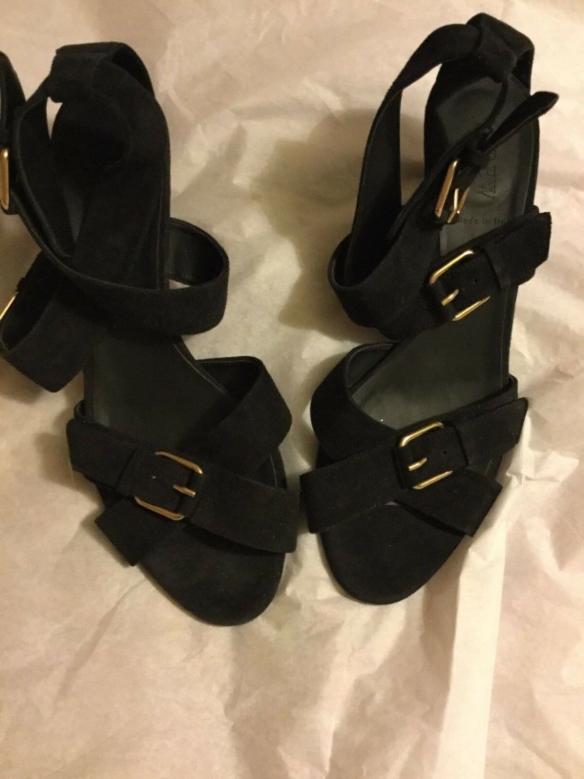 NEW J. Crew  198 Lucca nero Suede Sandals Made in  - 9.5