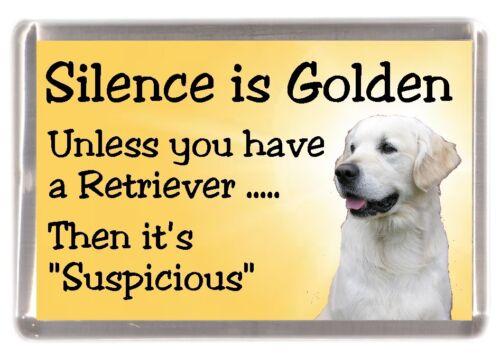 """Golden Retriever Dog Fridge Magnet /""""Silence is Golden............./"""" by Starprint"""