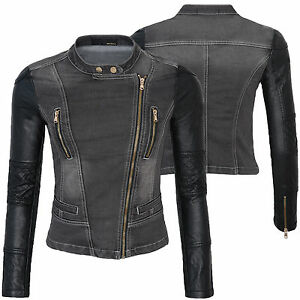 damen bergangsjacke biker jacke jeans jacke kunstleder rmel denim d 146 neu ebay. Black Bedroom Furniture Sets. Home Design Ideas