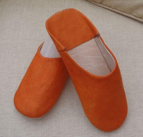 Muy Suave Cuero Zapatillas//mulas Naranja 9//43 de Marruecos