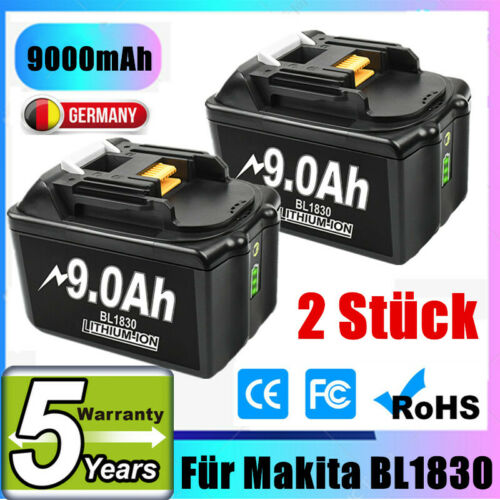 2X 18V 9.0Ah Lithium Akku Für Makita BL1830 BL1850 BL1860 194204-5 LXT400 Tools
