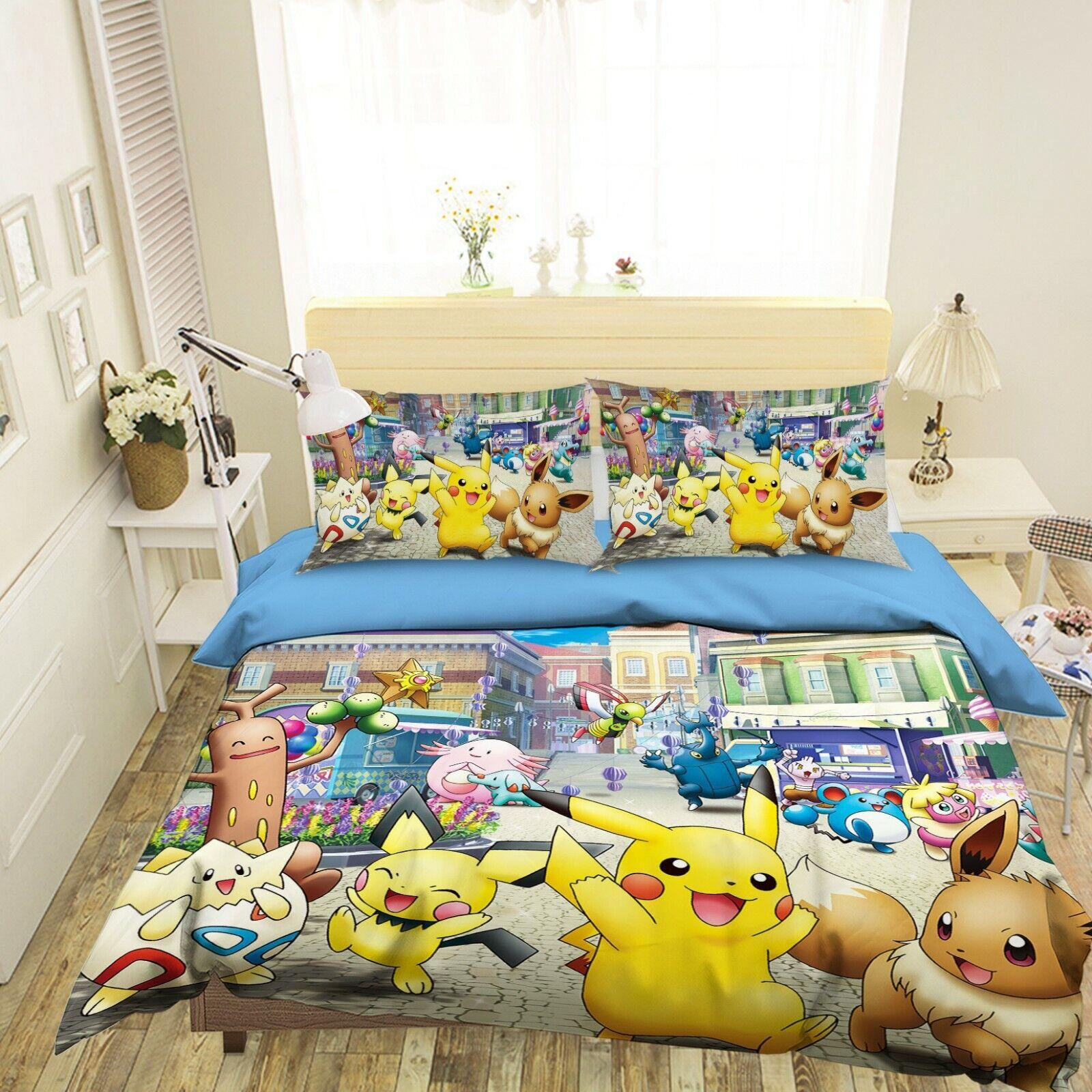3D Duvet Cover For Pokemon O64 Japan Anime Bed Pillowcases Quilt Cover Duvet Amy