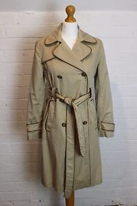 ANYA-HINDMARCH-Leather-Trimmed-Mac-Trench-Coat-Jacket-Size-Small-S