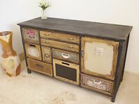 Shabby Chic Painted Sideboard Cabinet Chest Retro Style Distressed Sideboard