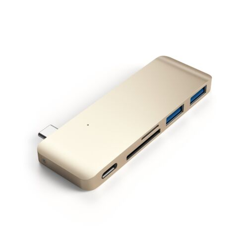 Aluminum Type-C USB 3.0 3-in-1 Combo Hub for 2015//2016//2017 MacBook 12-Inch Gold