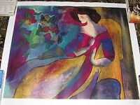 Linda Le Kinff Annabella Lady with a cat artwork unframed seriolithograph w/ COA