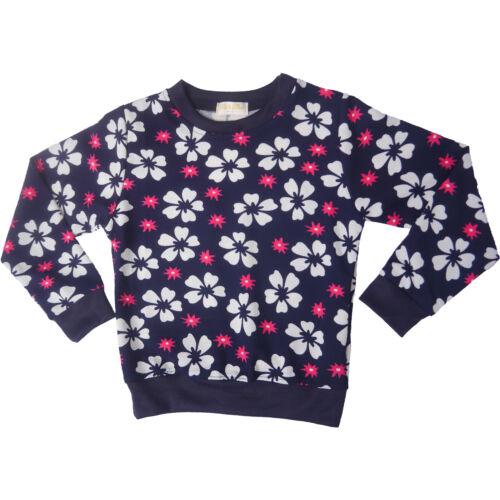 Kids Girls Childrens Sweatshirt Jumper Top Fleece Floral Flower Pink Navy
