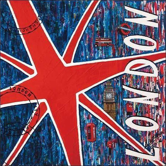 Sophie Wozniak  London Keilrahmen-Bild Leinwand Collage bunt Pop modern