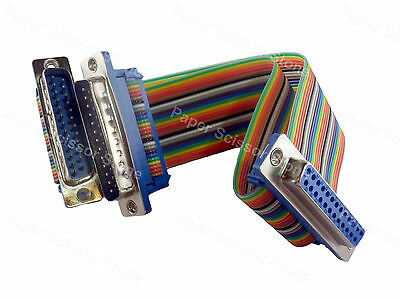 6 inch DB25 Female to Dual DB-25 RS232 Male Serial Y Splitter Ribbon Flat Cable