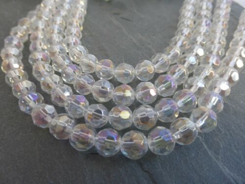 Env. 40 Perles 1 Strand Sparkly Clear AB Faceted Cristal Perles Rondes 8 mm
