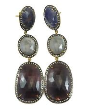 Red Blue White Sapphire Earrings Natural Raw Triple 14k Gold Filled Post Stud