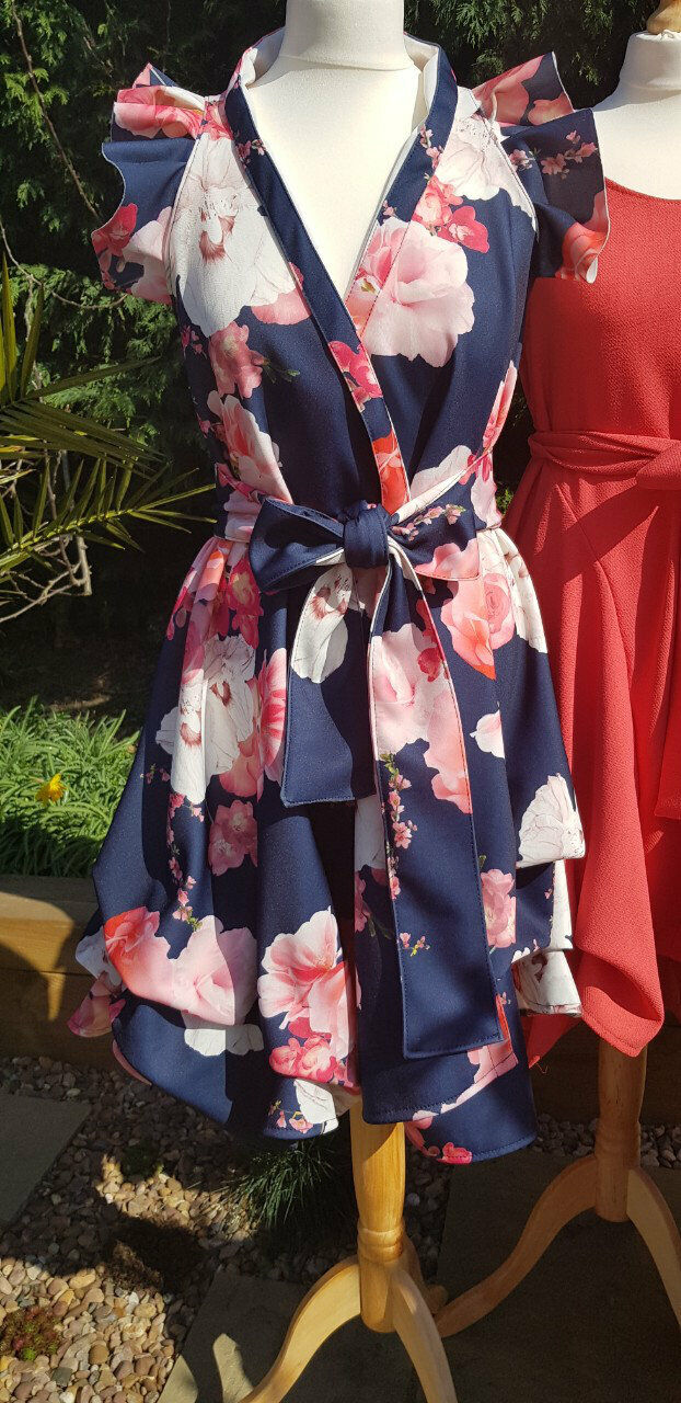 HANDMADE LIMITED EDITION Rosa FLORAL BLOOMS ON MIDNIGHT Blau WRAP DRESS