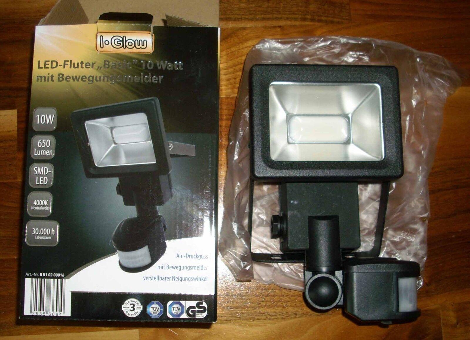 XQ-Lite I-Glow LED-Strahler 10 W Fluter 1x SMD LED mit Bewegungsmelder Schwarz