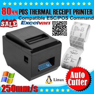 Black 250mm/sec 80mm ESC/POS Thermal Dot Receipt Printer AUTO-CUT USB Port UPC-A 669818118804