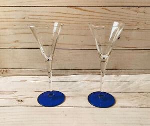 2-Exquisite-Sherry-Liqueur-Long-Stemmed-Glasses-Blue-Bases-Stemware