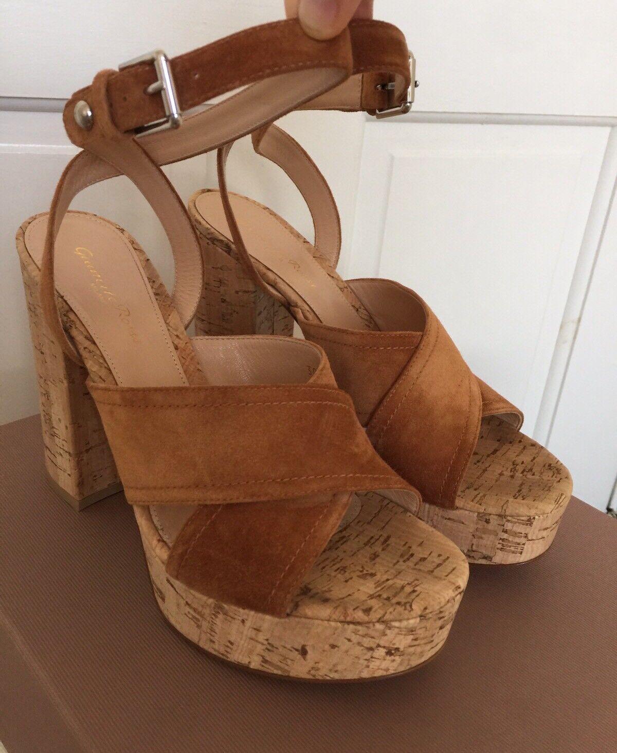 Descuento de liquidación Gianvito Rossi 39.5 Tan Brown Suede Suzie Platform Sandals Cork High Heels New
