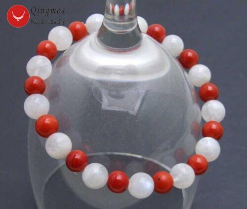Natural 6-7mm Red Coral /& 8mm White Moonstone Bracelet for Women 7.5/'/' bra414