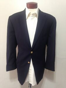 6aa5c39fb2f6 G910 CHAPS Ralph Lauren Navy Blazer 44R Two Gold Buttons 100% Wool ...