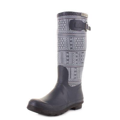 Womens Roxy Jody Denim Printed Navy Blue Wellington Boots Wellies Size