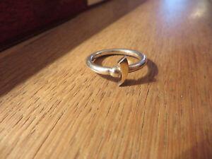 Schoener-Silber-Ring-Schlicht-Ausgefallenes-Design-Teilvergoldet-Kugel-Elegant