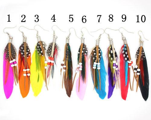 XL Feder Ohrringe Ohrhänger Federohrring Federn  Boho Perlen BUNT