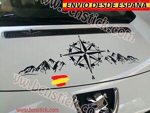 Rosa-De-Vientos-Montanas-Paisaje-Vinilo-Adhesivo-Decal-Coche-4x4-Capo-100x40cm