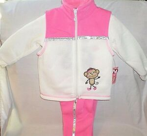 2B-Real-3PC-12Mos-Baby-Winter-Outfit-Cream-Pink-Vest-Long-Sleeve-Shirt-Pant-NWT