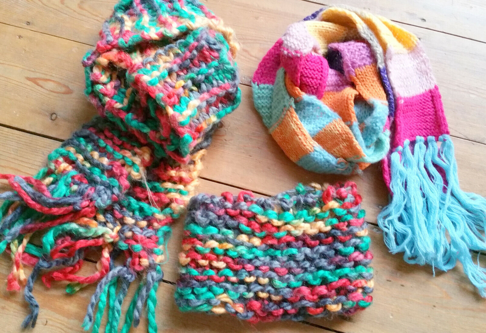 Cosmogirl Hand Knitted Scarves & Head Band Hat, Green Pink Yellow Blue Grey