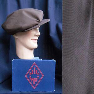 CASQUETTE-SWING-RETRO-SPORT-vintage-cap-1930-1940-COTON-chocolat-uni-TAILLE-60