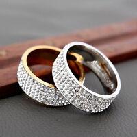 Sz8-12 Unisex CZ Stainless Steel Ring Men/Women's Wedding Band Rings Sale