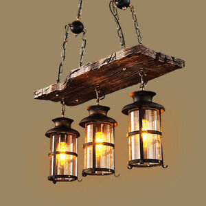 Details About Vintage 3 Light Wood Beam Lantern Pendant Kitchen Dining Room Chandelier