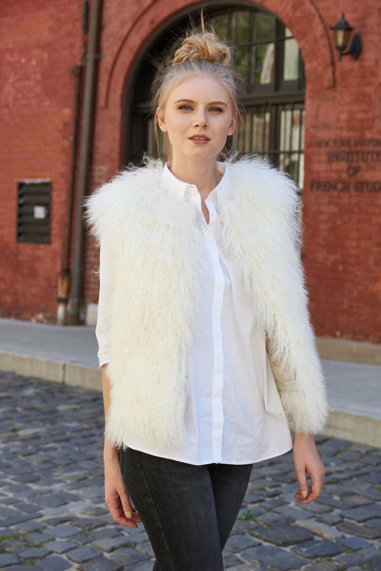 SALE NWT Belle Fare White Tibetan Lamb Lamb Lamb Fur Vest fda1e6