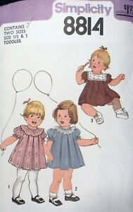 Vtg 1970s Simplicity 8814 Front Pleated Dress SEWING PATTERN Toddler size 1/2