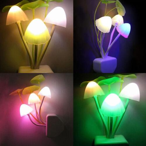 LED Pilz Lampe Nacht Licht Kontrolle Schlafzimmer Wand Leuchte Kinder Geschenk